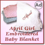 April Girl Embroidered Woven Cotton Baby Blanket