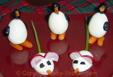 Completed Egg Penguins and Egg Mice   © Baby-Shower.com